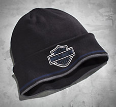 Bar & Shield Cuff Knit Hat