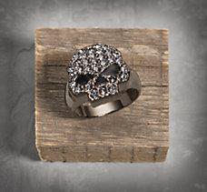 Black Crystal Skull Ring