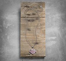 Pink Label Bar & Shield Necklace