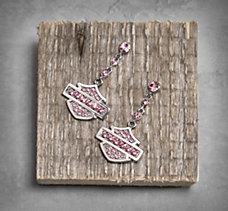 Pink Label Bar & Shield Earrings