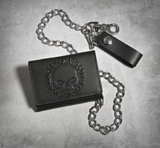 Skull Tri-Fold Biker Wallet