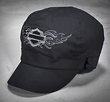 Flashy Bar & Shield Biker Cap
