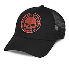 Orange Skull Trucker Cap