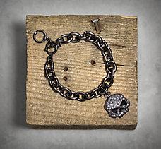 Black Skull Rhinestone Bracelet
