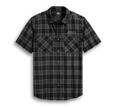 Flaming Skull Patch Plaid Shirt