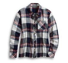 Raw Hem Plaid Shirt