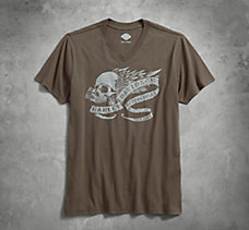 Winged Skull Slim Fit V-Neck Tee