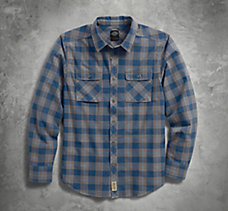 Washed Plaid Slim Fit Shirt