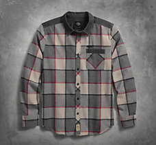 Contrast Yoke Plaid Slim Fit Shi...
