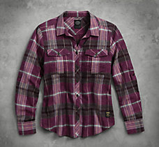 Plaid Roll-Tab Sleeve Shirt