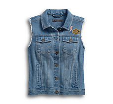 Skull Lightning Denim Vest