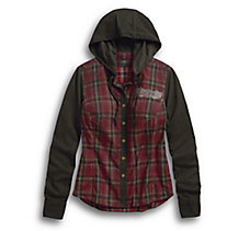 Jersey Sleeve Hooded Plaid Shirt