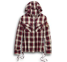 Drawstring Metallic Plaid Shirt