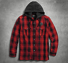 Hooded Flannel Shirt Jacket