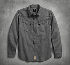 Gray Denim Slim Fit Shirt