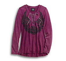 Flowered Winged Skull Henley