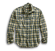Embroidered Plaid Slim Fit Shirt