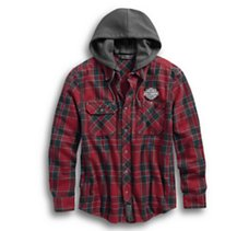 Hooded Slim Fit Plaid Shirt