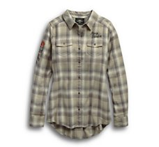 Rayon-Blend Plaid Shirt