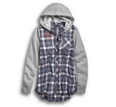 Knit Sleeve & Hood Flannel Shirt