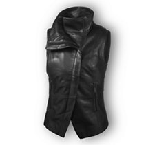 Leather & Compression Knit Vest