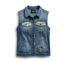 Camo Accent Denim Vest