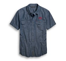 Embroidered Chambray Slim Fit