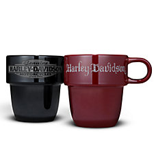 Set of 2 Stackable Ceramic Mugs