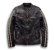 Sleeve Stripe Leather Jacket