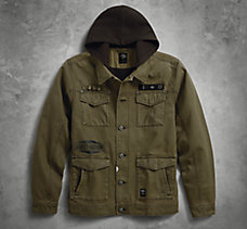 Hooded Canvas Slim Fit Jacket