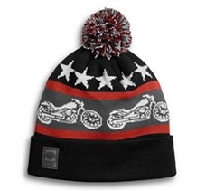Retro Cuffed Pom Knit Hat