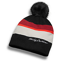 Striped Pom Knit Hat