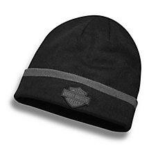 Rubber Badge Cuffed Knit Hat