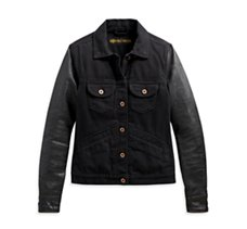 Logo Leather Sleeve Denim Jacket