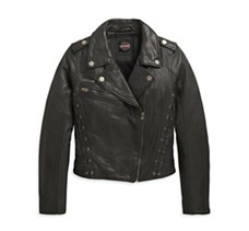 Lace-Up Leather Slim Fit Jacket
