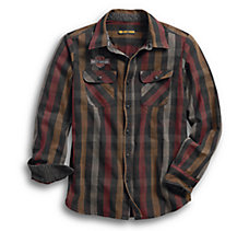 Logo Over-Dyed Plaid Slim Fit Sh...