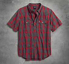 Heathered Plaid Slim Fit Shirt