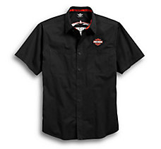 Black Pinstripe Flames Shirt