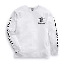 Skull Long Sleeve Tee - White