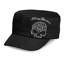 Black Crystal Skull Flat Top Cap