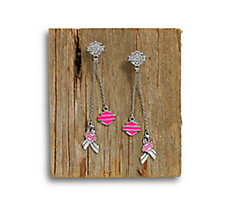Pink Label Charm Drop Earrings